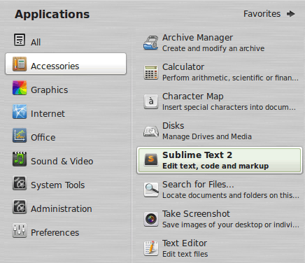 Sublime Text 2 in Linux Mint Applications Menu